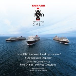 Cunard cruise line exclusive offer provided by Travel Reawrds.